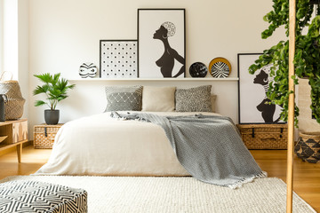 Scandi bedroom interior with posters