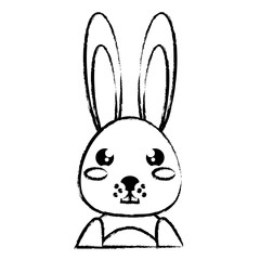 cute bunny icon over white background, vector illustration