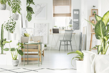 White home office interior with fresh green plants, grey chair standing by wooden desk with laptop and window with blinds