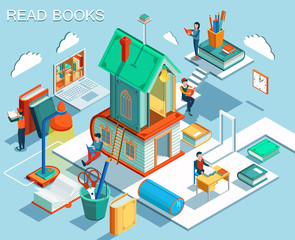 The concept of reading books and learning in the library.Isometric flat design. Vector illustration