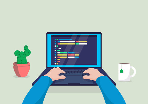 Man programmer working on computer with code on screen illustration.