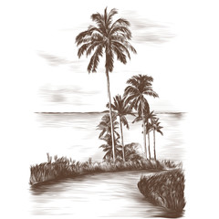landscape road through the tropics with palm trees on the side of the sea background, sketch vector graphics monochrome