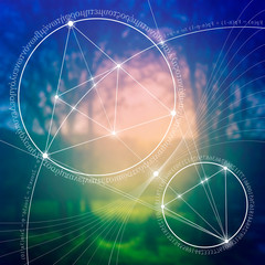 Interlocking circles and triangles hipster sacred geometry illustration with golden ratio digits in front of photographic background.