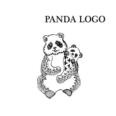 Logotype with panda in black and white style