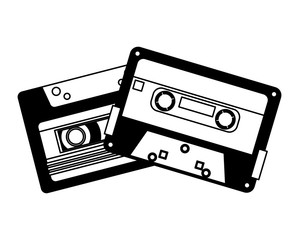 retro vintage cassette tape record music vector illustration black and white