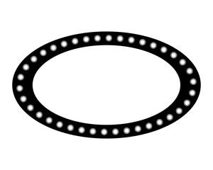 vintage billboard with lights oval shape vector illustration black and white