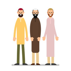 Two muslim arabic people standing together in different suit and traditional clothes. Illustration in flat style on white background. Isolated
