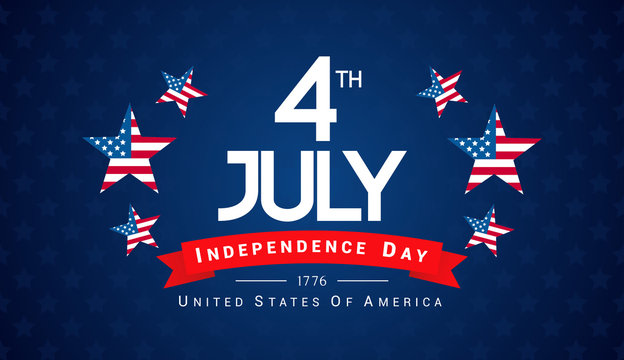 4th of July Banner Vector illustration, Independence Day, 4th of July with US flag inside star on blue background.