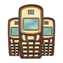 vintage retro device cellphone image vector illustration