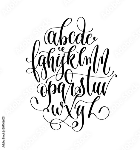"""black And White Hand Lettering Alphabet Design"
