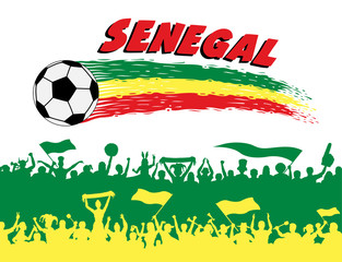 Senegal flag colors with soccer ball and Senegalese supporters silhouettes