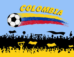 Colombia flag colors with soccer ball and Colombian supporters silhouettes