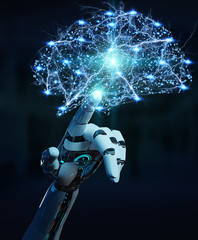 White humanoid hanid creating artificial intelligence 3D rendering