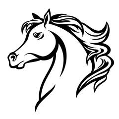 arabian horse profile head - black and white vector design