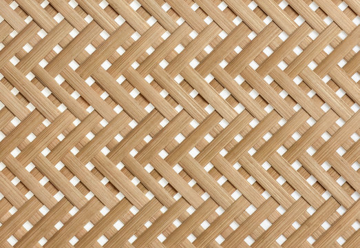 Woven bamboo strips pattern close up. Wickerwork bamboo texture background.