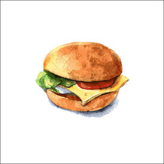 Veggie Burger with cheese, tomato and lettuce. Watercolor. Vector