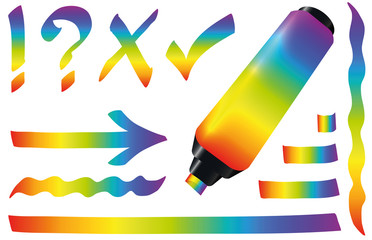 Rainbow colored highlighter. Bright marker pen plus strokes, multicolored spectrum colors to bookmark and underline important text. Isolated vector illustration on white background.