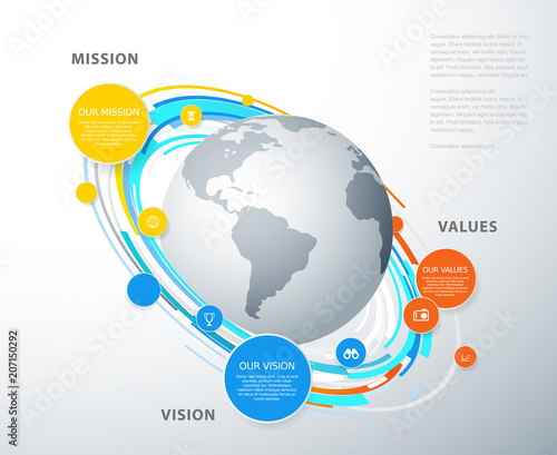 vector template with colorful circles and mission vision and values