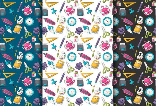 School supplies theme. Seamless pattern set. Vector illustrator.