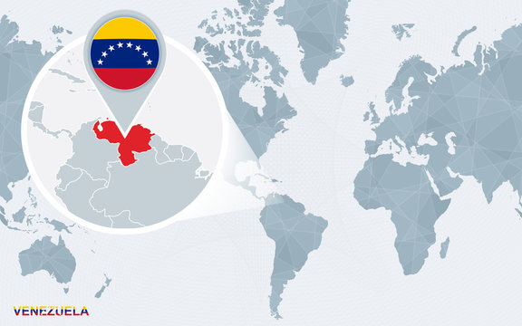 World map centered on America with magnified Venezuela.