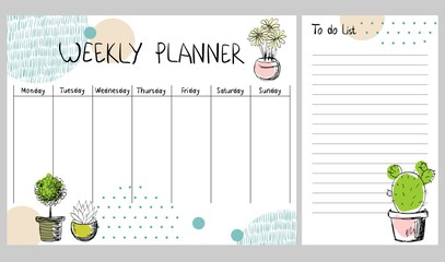 Hand drawing vector weekly planner with plants.