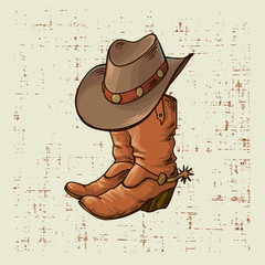 Cowboy boots and hat.Vector graphic illustration on old grunge background