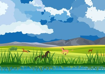 Nature vector landscape, horses running in the green valley of middle asia