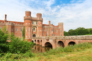 Brick Herstmonceux castle in England East Sussex of 15th century