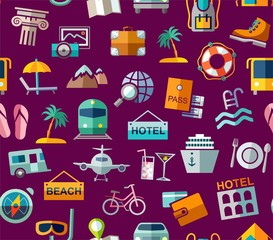 Travel, vacation, tourism, leisure, seamless pattern, colorful, purple. Different types of holidays and ways of travelling. Vector, color background. Colored flat drawings on a purple field.