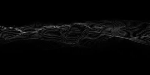 Technology dark background. Vector futuristic wave 3d. Cyber technology. Big data.
