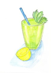 Painted green smoothie drink with lemon