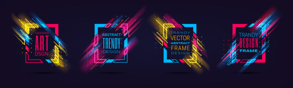 Vector modern frames with neon glowing lines isolated on black background. Art graphics with glitch effect. Holographic design element for business cards, gift cards, invitations, flyers, brochures.