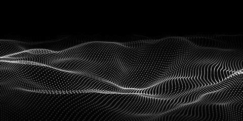 Fotorolgordijn Abstract wave Abstract wave dots in dark background. Technology vector background. Big data.