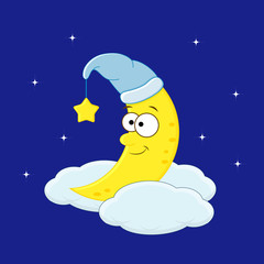 Cute cartoon moon in the hat on the cloud. Vector illustration