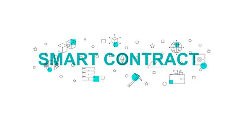 Smart contract vector banner. Word with line icon. Vector background