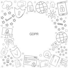 GDPR background from line icon. Linear vector pattern.