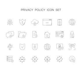 Privacy policy icon set. Line icon vector.