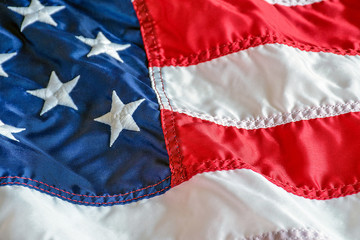 American flag background with embroidered stars