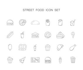 Street food icon set. Line icon vector.