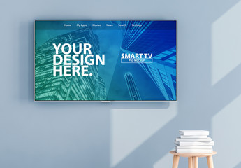 Smart TV on Light Blue Wall Mockup