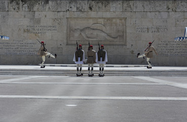 Greece Athens May 19-2018 building of the Presidency..Ceremonial changing of the guard in front of the Greek Parliament
