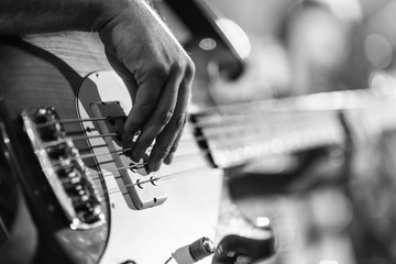 Playing Bass Guitar, Black And White