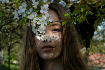 Portrait of a teenage girl standing under a cherry blossom tree