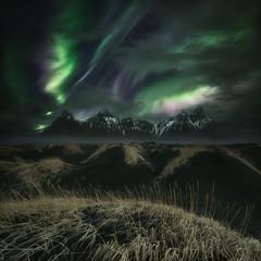 Northern lights over mountains, Vestrahorn, Iceland