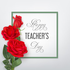 Teachers day card with red roses