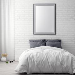 Mock up poster frame in bedroom interior background and brick wall, 3D illustration