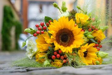 Poster Autruche Brautstrauss Sommerblumen Brautstrauß