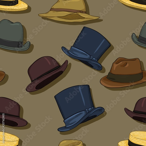 ba29face841dd Vector Seamless Classical Hats Pattern Background