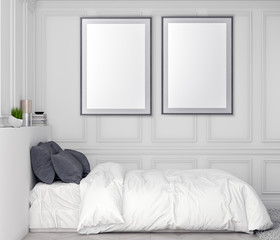 Mock up poster frame in bedroom interior background and classic wall, 3D illustration