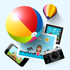 Summer Travel Concept with Photograps, Camera, Mobile Phone, Beach Ball and Hot Air Balloon. Vector.